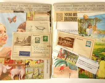 Countryside-themed creativity kit with VINTAGE BOOK PAGES and coordinating craft supplies