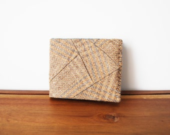 Beige Plaid Wool Mens Bifold Wallet with Mint Green Interior