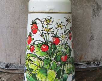 Vintage Metal Tin Sugar Shaker With Strawberries and Blueberries by Regency Ware