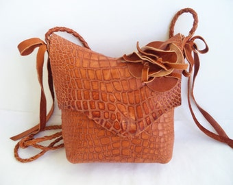 leather handbag shoulder bag, in tan camel brown faux alligator flower and bows, by Tuscada. Ready to ship.