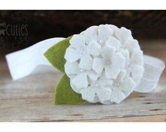White Hydrangea Felt Headband or Felt Hair Clip / Felt Flower Headband, newborn headband, flower girl, girl headband / baptism headband