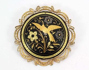Vintage Ornate Damascene Brooch