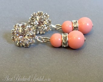 Pink Coral Earrings Bridal Wedding Bridesmaid Earrings Swarovski Pearls in Pink Coral peach or your choice of color perfect bridesmaids gift