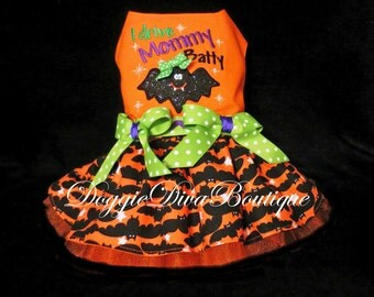 Dog Halloween Dress - Dog Costume - Orange Dog Bat Dress, I Drive Mommy or Daddy Batty - XS, Small or Medium