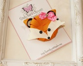 Fox Ribbon Sculpture Hair Bow.  Woodland Animal Clips. Free Ship Promo