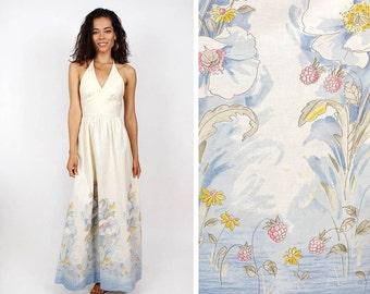 70s Meadow Halter Dress XS • Cotton Maxi Dress • Bohemian Angel Dress • D311
