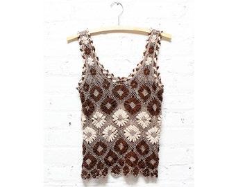 Crochet Tank Top S/M • Brown and Tan Bohemian Shirt   T218