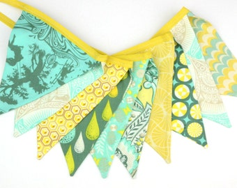 READY to SHIP! Fabric Bunting, Banner, Pennant, Flag, Garland, Photo Prop, Decoration Yellow Tan Turquoise Honeycomb Fan