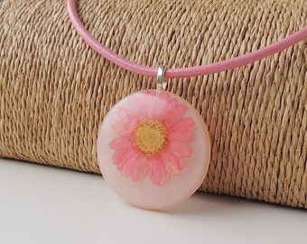 SALE: Pink Flower Necklace, Flower Resin Pendant, Leather Necklace, Statement Necklace, Flower Jewelry, Resin Jewelry, Botanical, UK (013)