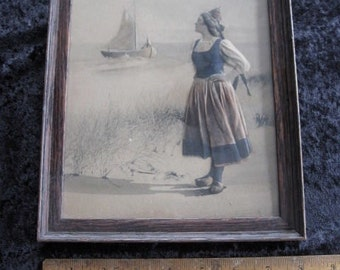 "Dutch Woman and Ship Framed  3D effect Embossed 8"" x 10"" Antique"