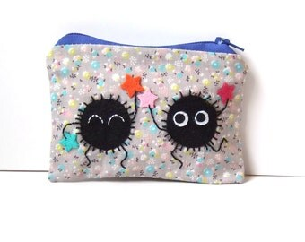 Soot sprite (kurosuke) pouch / coin purse, wallet from my neighbor totoro / spirited away with flowered grey fabric