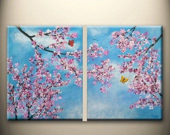 cherry blossom and butterfly,flying birds,Spring- original modern painting, textured, 32x20inch,ready to hang