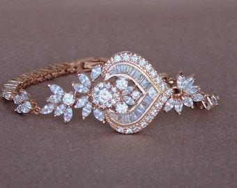 Rose Gold Crystal Bracelet, Pink Gold Bridal Bracelet,  White Gold Option, Rose Gold Bridal Jewelry, Wedding jewelry, TAYLOR