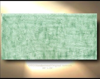 ORIGINAL Transparent Sea Glass Green Painting Oil Abstract  Modern Contemporary Heavy Texture by OTO