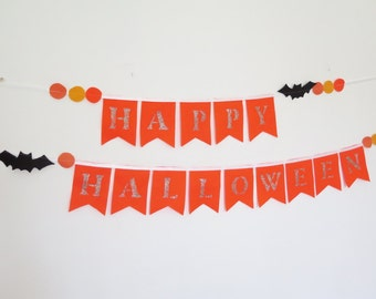 Halloween decor, happy halloween banner , holiday decorations , handmade halloween decor , halloween garland