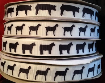 "Stock show Animal Grosgrain 7/8"" inch Ribbon"