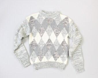 VINTAGE Argyle Sweater Grey Marble Knit