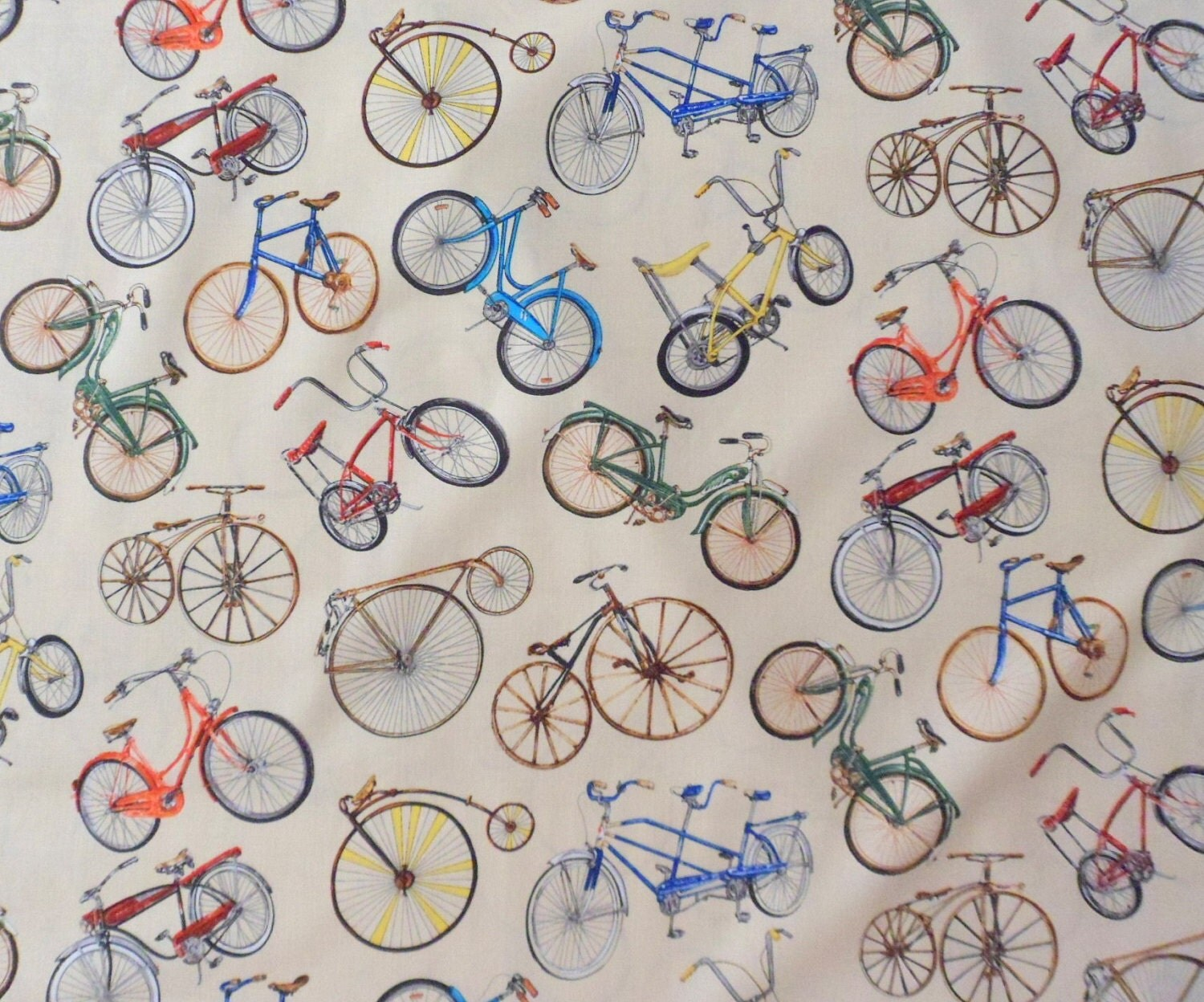 Vintage Bicycles Fabric Bicycle Built for Two Fabric Cotton