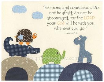Baby boy room, Nursery wall art, Decor Art for Kids, elephant, giraffe, turtle, crocodile..be strong and courageous....Winnie the Pooh