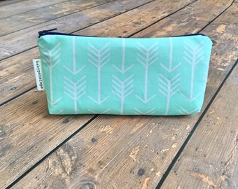 Pencil Case/Cosmetic Bag/ Gadget Case - Mint Arrows and Navy