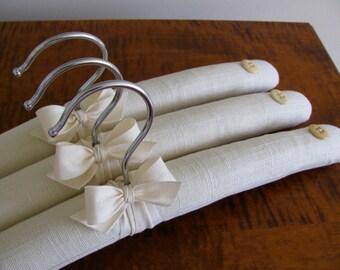 Linen Hangers, Padded Hangers, Linen Clothes Hangers, Linen Covered Hangers, Hopsack Linen Padded Hangers, Fabric Hangers, Hanger Sets
