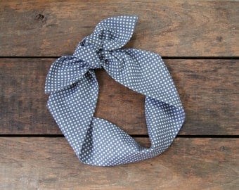 charcoal and white small polka dot headscarf, retro, tie up headband, adjustable, summer fall fashion, knotted headband, under 15