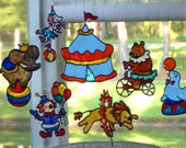 Let's go to the circus! window clings in jewel colors