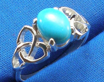 Celtic Triskel Ring with Robin Egg Blue Turquoise, Hand Crafted Recycled Sterling Silver, December birthstone, handmade