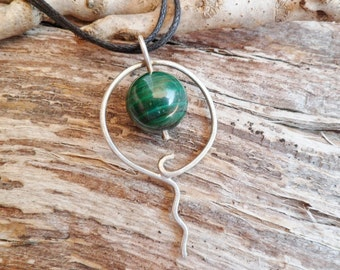 Malachite Necklace. Malachite And Sterling Silver Necklace. Handmade. Mineral Necklace. Malachite Pendant. Malachite Properties. Handmade.