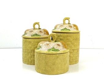 Vintage ceramic canisters - yellow basketweave with white flowers - Kitchen storage