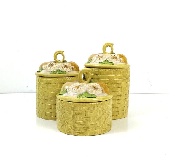 canisters yellow basketweave with white flowers kitchen storage