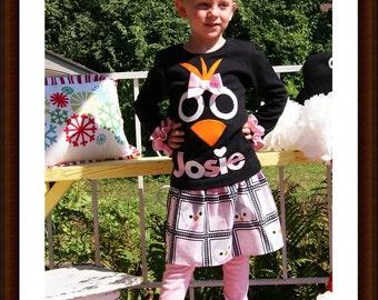Penguin Skirt Set ... Infant Toddler Youth Girl Sizes - You Choose Shirt Color