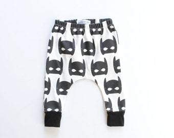 organic baby leggings / toddler harems / hipster baby clothes / cloth diaper / black and white super hero mask