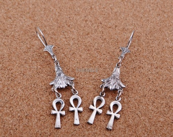 Lrg Egyptian Sterling Silver Lotus Double Ankh Dangels Earrings