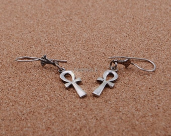 Egyptian Sterling Silver Ankh Life key With Lotus Earrings