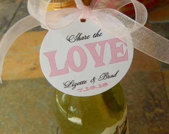 """Mini Wine Bottle Custom 2"""" Favor Tags - For Weddings - Bridal Showers - Engagement - Rehearsal Dinner - (40) Printed Tags - Share the Love"""
