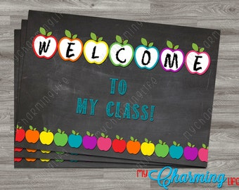 Welcome to My Class Printable Teacher Note Cards Postcards - 4x6 or 5x7 - Customizable with Grade - Back to School - Choice of Background
