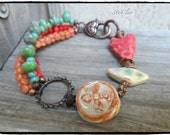 SALE Multistrand Mixed Media Bracelet Artisan Clay Beads Orange Red Turquoise Antique Brass Link Picasso Style Bright Hippy Style