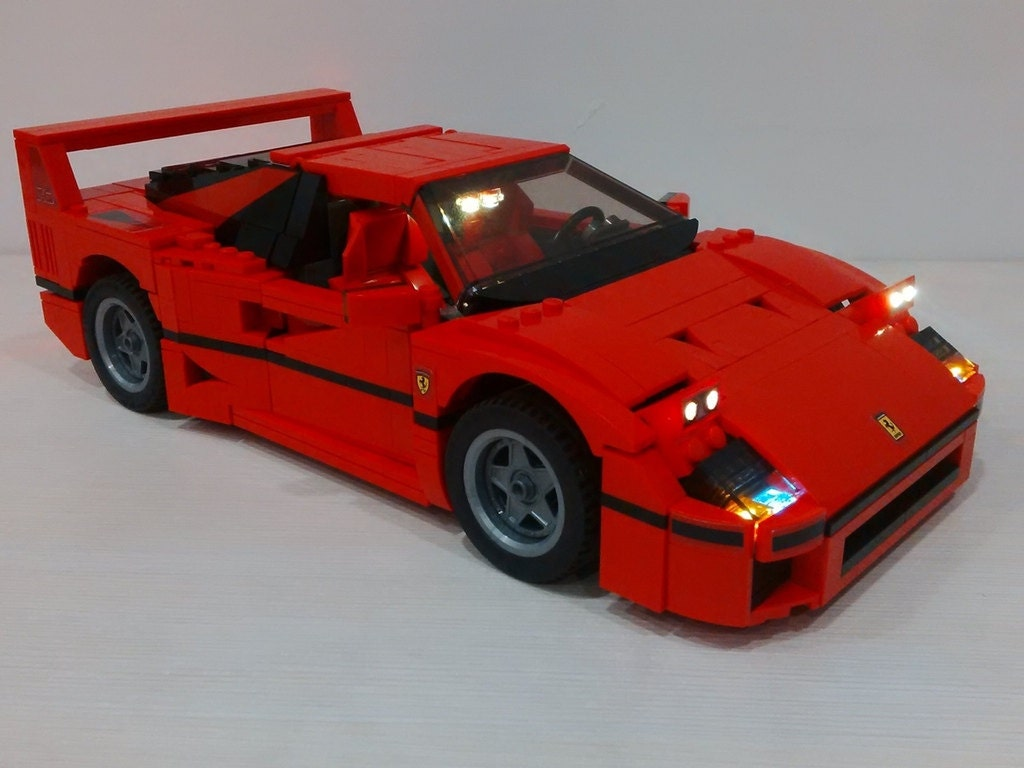 light up set of ferrari f40 for lego creator 10248 car not. Black Bedroom Furniture Sets. Home Design Ideas