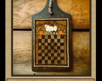 Harvest Thyme Checkerboard -PUNCH NEEDLE PATTERN--Instant Download