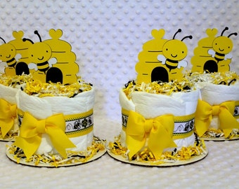 Bees Mini Baby Diaper Cakes Set of 4 Shower Gifts or Centerpieces