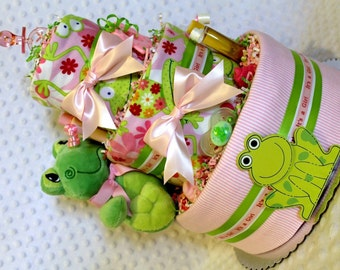 Frogs Baby Diaper Cake Pink Girls Shower Gifts or Centerpieces