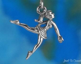 Sterling Silver Ballet Charm Charm Ballerina Dancer Dancing Solid .925