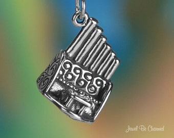 Sterling Silver Pipe Organ Charm Concert or Church Music 3D Solid .925