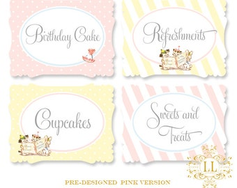 Pink Tiny Trio Buffet & Party Signs by Loralee Lewis