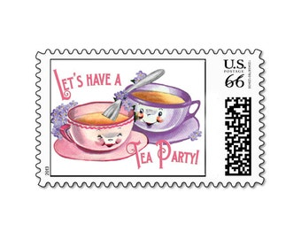 Tea Party Postage Stamps Set by Loralee Lewis