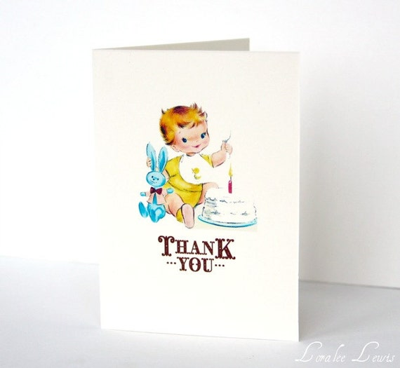 Vintage 1st Birthday Boy Thank You Notes By Loralee Lewis