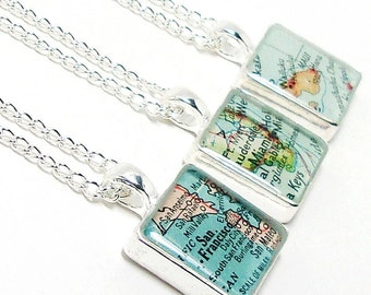 CUSTOM Vintage Map Square Necklace. You Select Location. Anywhere In The World. One Necklace. Map Pendant. Map Jewelry. Travel. Personalized