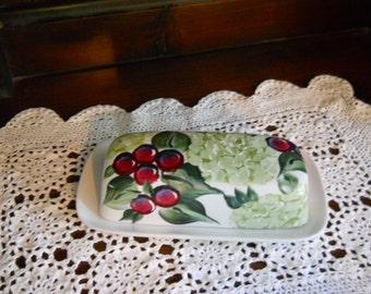 White Porcelain Hand Painted Butter Dish Wine Grapes and Snowball Bushes Design