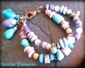 Layered Ethnic Bead Charm Bracelet, Kuchi Jewelry, African Beads, Lampwork Glass, Rose Quartz, Turquoise Stone Bracelet, Tassel Jewelry